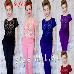 Sét áo tay con ren hoa phối quần dài ôm thời trang SQV228