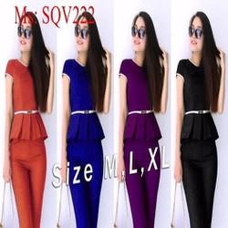 Sét áo kiểu tùng xòe phối viền và quần baggy ống ôm SQV222