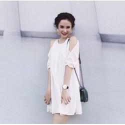 Đầm Suông Tay Lỡ Xẻ Vai Xinh Như Phương Trinh