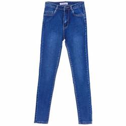 Quần Jeans Dài Ống Trơn Mài Nhẹ Nữ Màu Xanh
