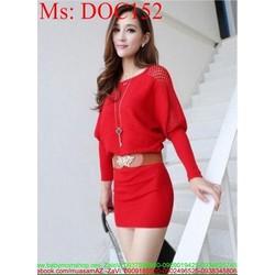 Đầm body công sở dài tay lưới màu đỏ sang trọng DOC152