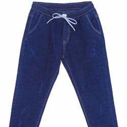 Quần Jeans Dài Ống Xước Cạp Chun Nữ Màu Xanh