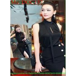 Đầm body đen xẻ đùi thiết kế đính nút cách điệu thời trang DOC157