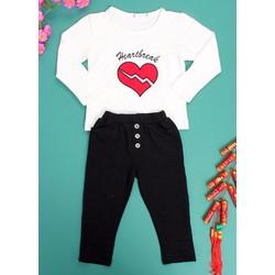Set quần và áo tay dài thêu hình tim cho bé từ 2- 8 tuổi CIRINO