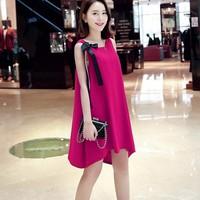 Đầm oversize vạt xéo Hồng và Đỏ HD129