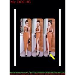 Đầm body sát nách xẻ đùi cao sexy phối viền đen cá tính DOC103