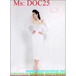 Đầm body dự tiệc trắng phối hoa xinh đẹp trẻ trung DOC25