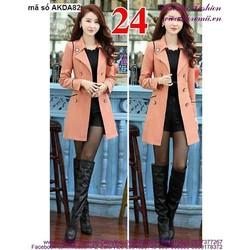 Áo khoác kaki thu đông form dài cổ vest 6 nút sang trọng mAKDA82