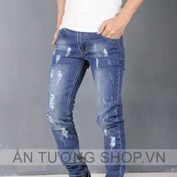 Quần Jeans nam rách bụi form skinny