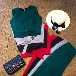 Set áo croptop thắt nơ+quần baggy