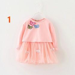 Đầm ren phối áo lửng rời thêu bướm điệu Đà cùng bé đi chơi lễ.