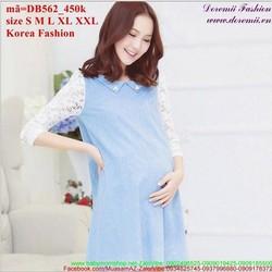 Đầm bầu Hàn Quốc Denim tay phối ren sành điệu zzDB562