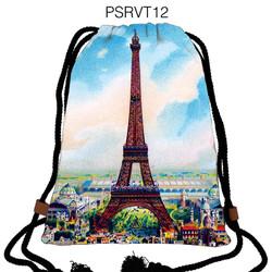 Balo dây rút hình Vintage Tháp Eiffel