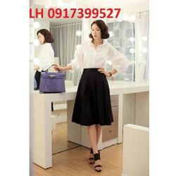 Chân váy xòe công sở xếp ly thời trang Hàn Quốc mới R16001843