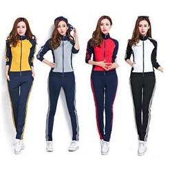 Bộ quần áo thể thao nữ áo tay dài quần dài phối màu cá tính