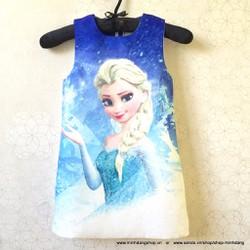 Đầm bé gái dự tiệc họa tiết Elsa xinh lắm