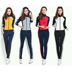 Bộ quần áo thể thao nữ phối màu cá tính