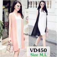 Đầm xuông cổ tim, áo khoác ngoài VD450