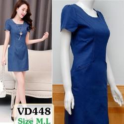 Đầm Jean xuông tay con VD448