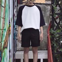 Áo thun phối tay raglan trắng - đen
