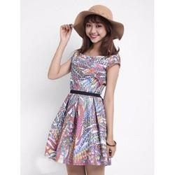 Đầm Xòe Vintage Hoa Văn Sang Trọng