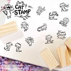 Bộ con dấu trang trí handmade mèo xinh