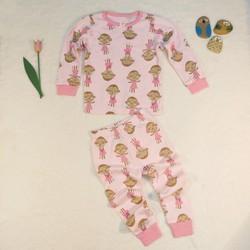Bộ jumping bean dài tay BG Màu hồng in hình con khỉ