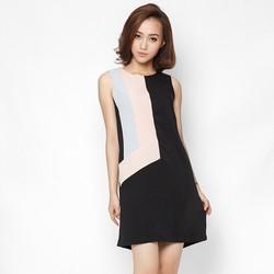 Đầm suông thiết kế pha mầu