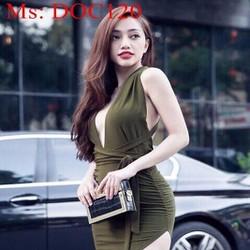 Đầm ôm body cổ V hở lưng sexy phong cách DOC120