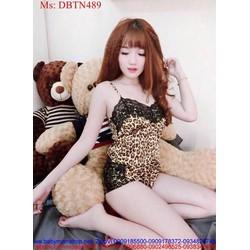 Đồ bộ nữ mặc nhà short 2 dây họa tiết beo cá tính DBTN489
