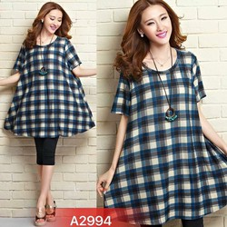 Đầm suông xoè rộng hoạ tiết caro trẻ trung,năng động- A2994