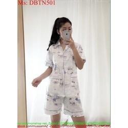 Đồ bộ nữ mặc nhà hình hello kitty xanh dễ thương DBTN501