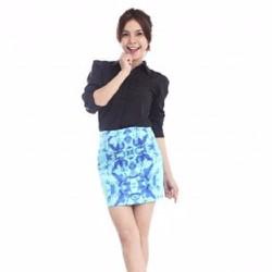 Chân Váy Vintage Hoa Hải Dương Xanh 03