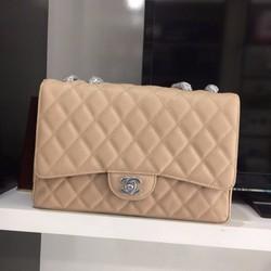 Túi Xách Chanel Classic Da Hột Khóa Trắng  Hàng Siêu Cấp