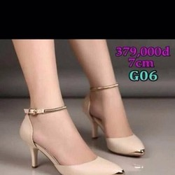 Giày cao gót mũi nhọn tag vàng và dây quai hậu sang trọng GCN203