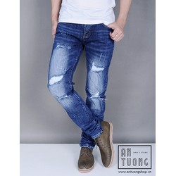 Quần Jeans nam rách bụi co giãn