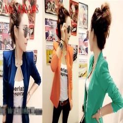 Áo khoác nữ vest nữ dài tay công sở đính tag sắt sành điệu AKA48