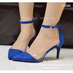 Giày cao gót mũi nhọn hở eo mica màu xanh coban-GX384