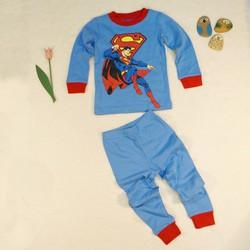 Bộ jumping bean BT dài tay  màu xanh dương in hình spiderman đỏ vàng