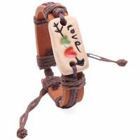 Vòng tay da handmade mặt dây Love - k3014
