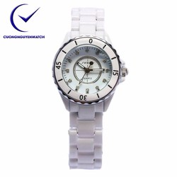 Đồng hồ nữ dây đá Ceramic SINOBI trắng SN01