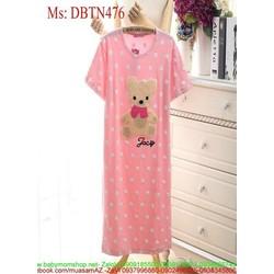 Đồ mặc nhà nữ dạng đầm dài hinh chú gấu dễ thương DBTN476
