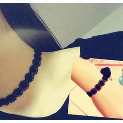 Set ren hoa tròn tattoo choker lắc tay vòng cổ