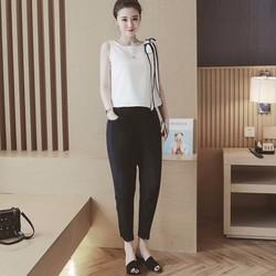 Set áo nơ viền đen quần dài