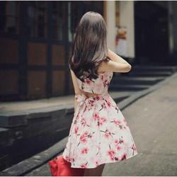 Đầm xoè hở lưng in hoa