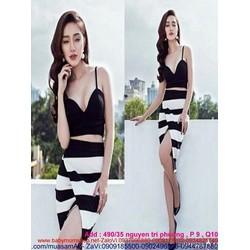 Sét áo váy 2 dây kiểu croptop và chân váy sọc xẻ đùi SEV169