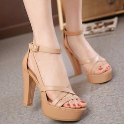 Giày sandal cao gót nữ dây da cao cấp - LN452