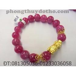 Vòng tay đá Ruby hồng đỏ cham bạc tỳ hưu mạ vàng hạt 10 ly