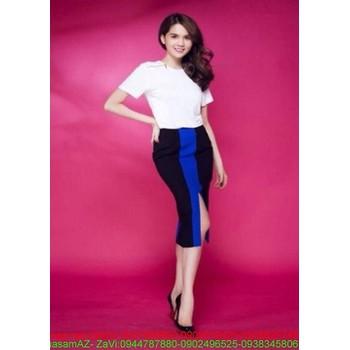 Sét rời áo kiểu màu trắng và chân váy xẻ đùi phối màu SEV161