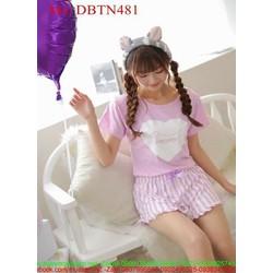 Đồ mặc nhà nữ ngắn tay hình trái tim và quần short màu DBTN481